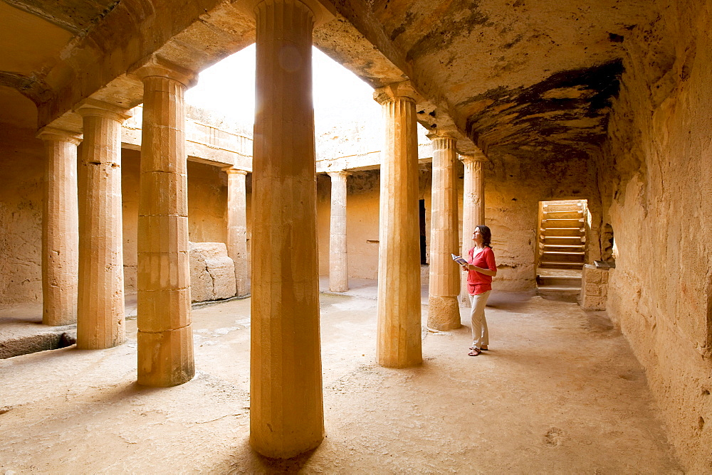 Author Monica Gumm in the ruins of a royal tomb, Cyprus, Greece, Europe