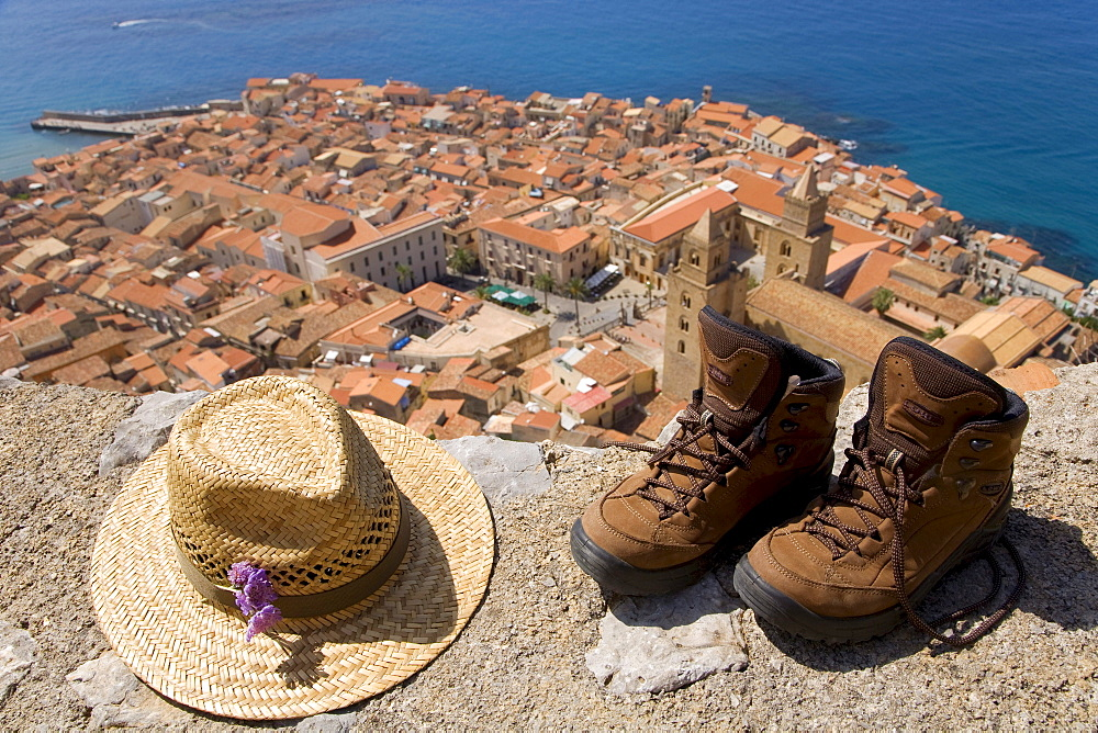 Hiking, hiking boots, view from the Rocca di Cefalo on the old town of Cefalo, Normannendom cathedral, Cefalu, Palermo Province, Sicily, Italy, Europe