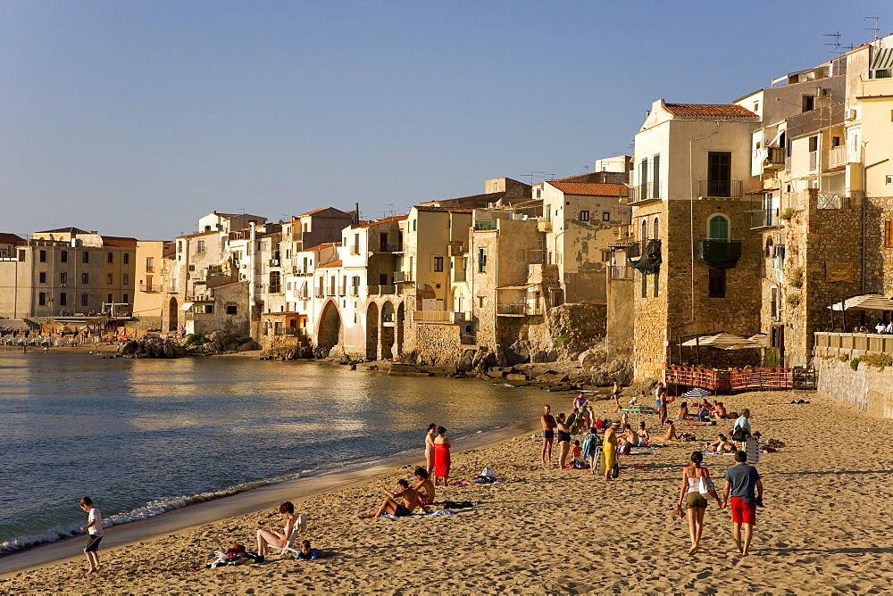 Beach, historic town centre, Cefalu, Province of Palermo, Sicily, Italy, Europe