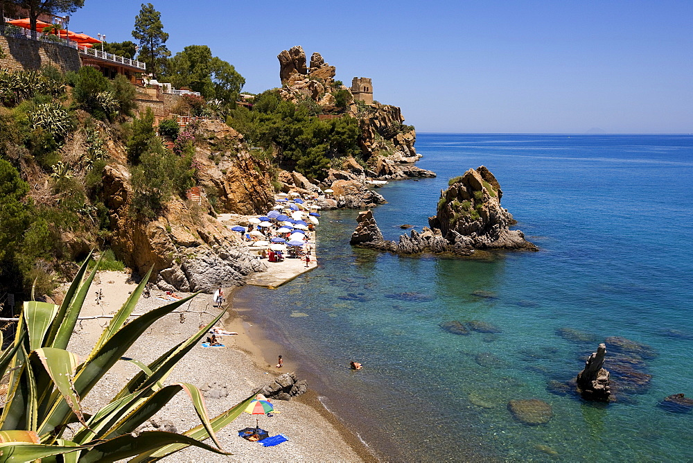 View from Kalura Sporthotel into Kalura Bay near Cefalu, Province of Palermo, Sicily, Italy, Europe
