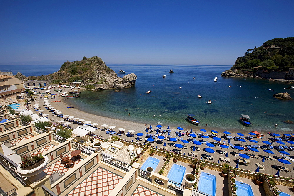 View from the Hotel Mazzaro Sea Palace on Mazzaro bay, Taormina, Messina province, Sicily, Italy, Europe