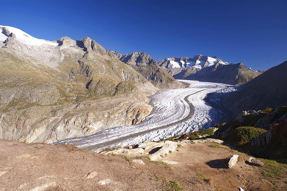 Aletsch Glacier in autumn, Valais, Switzerland, Europe