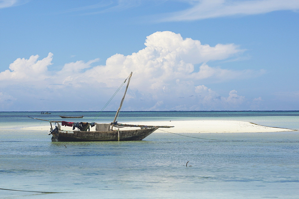 Dhow boat in the harbour of Nungwi, Zanzibar, Tanzania, Africa