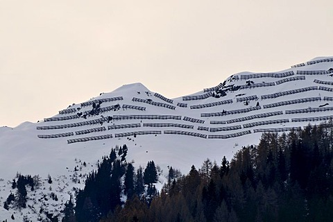 Avalanche barriers in the Stubaital valley, Tyrol, Austria, Europe