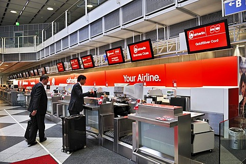 Check-in counter, Airberlin, departure hall, Terminal 1, Airport MUC 2, Munich, Bavaria, Germany, Europe