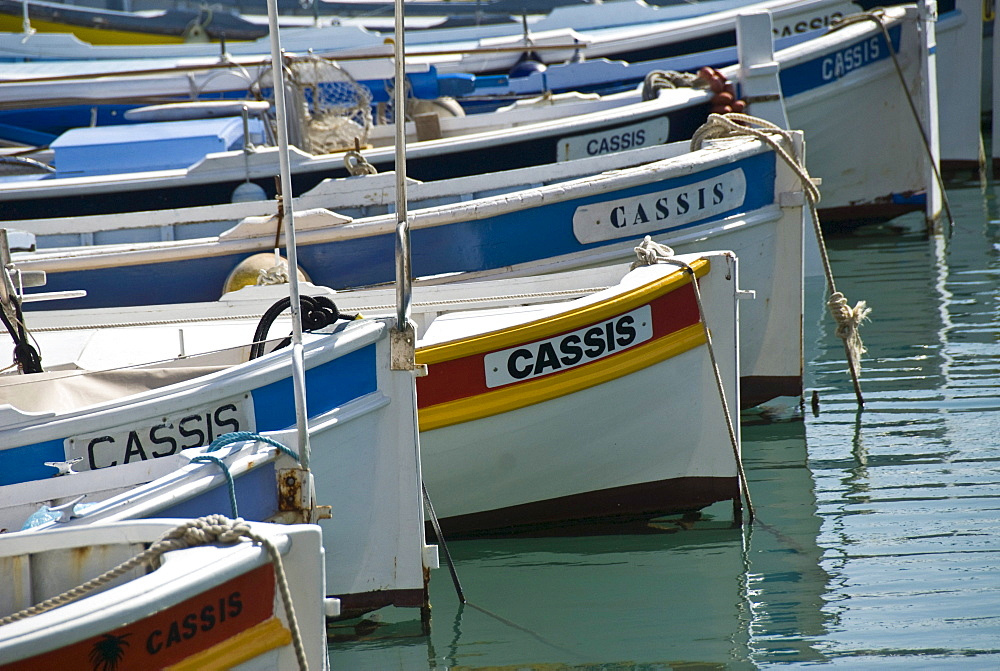 Colorful boats in the Harbor of Cassis, Provence, South of France, Europe