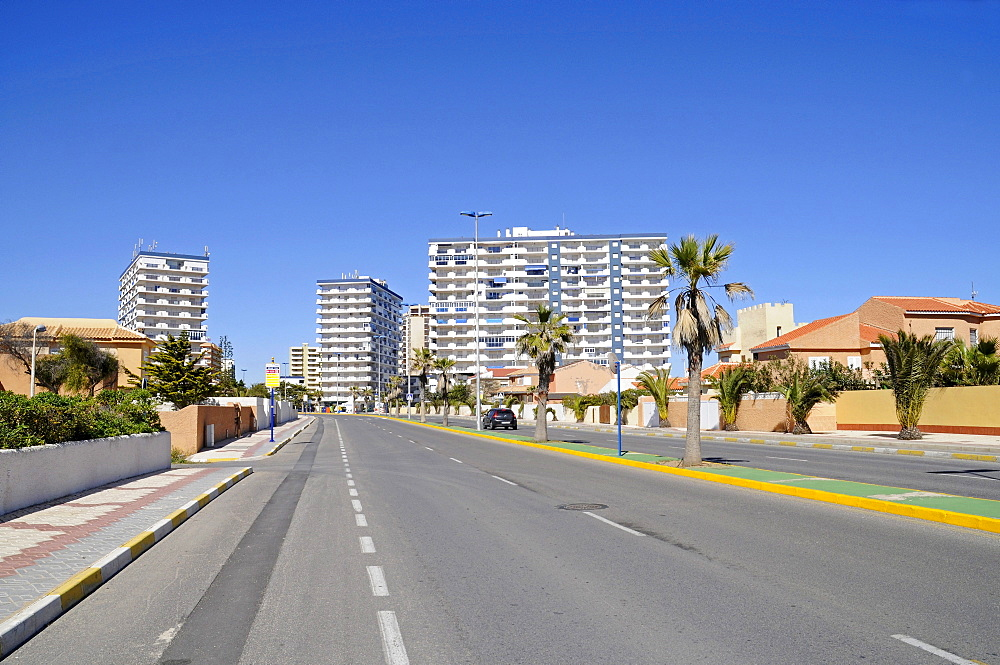 High-rise buildings, street, La Manga, Mar Menor, Murcia, Spain, Europe