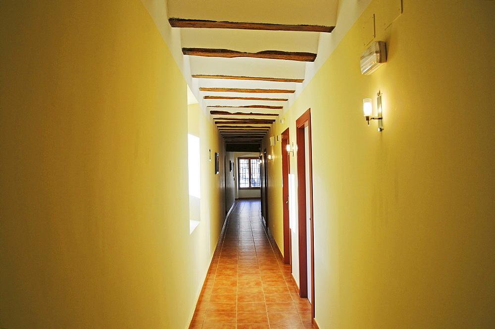 Corridor, hall, Convento Nuestra Senora del Carmen, monastery, hostel, hotel, Carmelitas Descazos, Carmelites, Caravaca de la Cruz, sacred city, Murcia, Spain, Europe