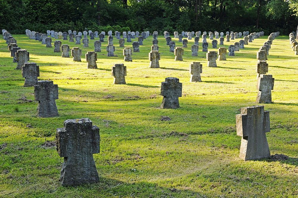 Stone crosses, military graves, military cemetery, Eversberg, Meschede, Sauerland region, North Rhine-Westphalia, Germany, Europe