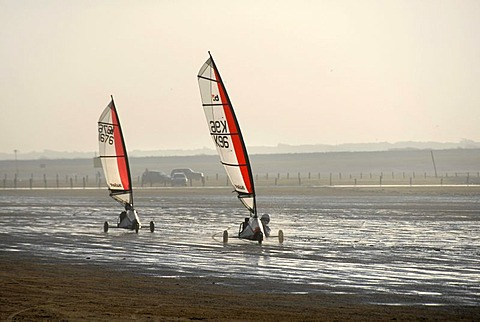 Two sail wagons on the beach, land sailing, sand yachting, Weston super Mare, Somerset, England, Great Britain, Europe