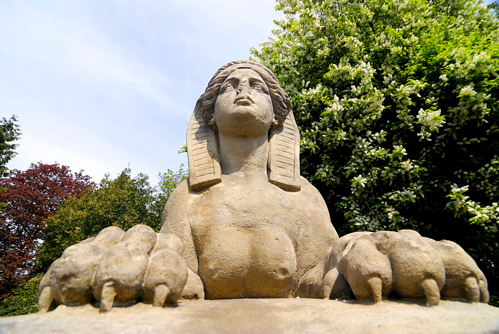 Historic Sphinx figure at Eichtalpark park in Wandsbek, Hamburg, Germany, Europe