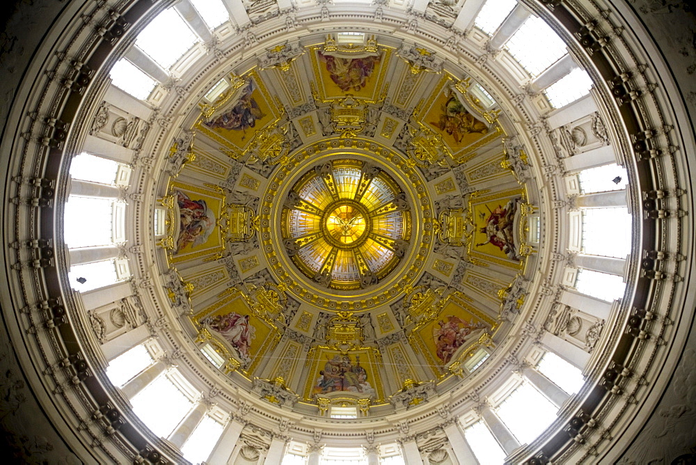 Dome of the Berlin Cathedral at Lustgarten, Pleasure Garden, interior view, Mitte, Berlin, Germany, Europe