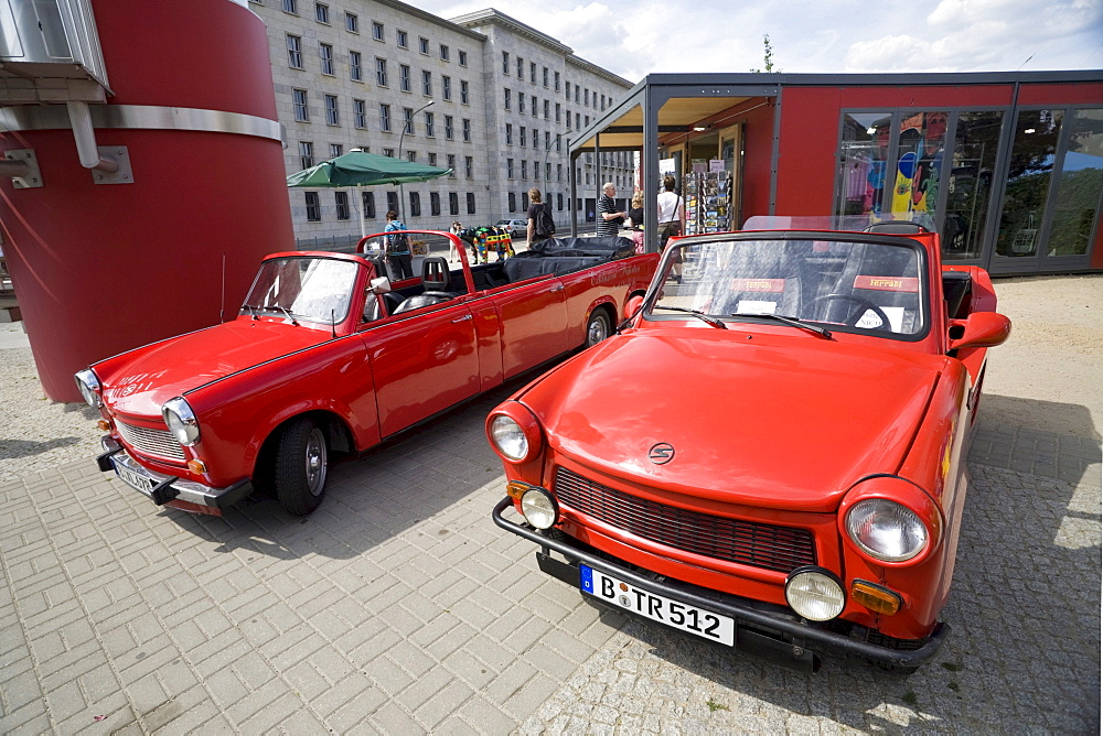 "Trabant cars of ""Trabi Safari"" sightseeing tours, Zimmerstrasse, Mitte, Berlin, Germany, Europe"