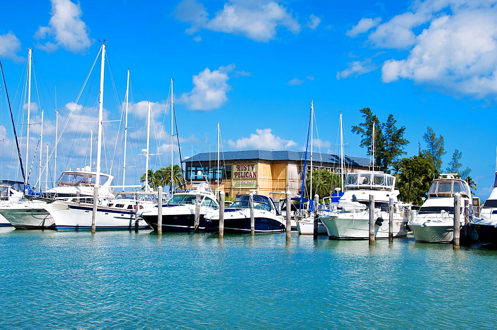 The Rusty Pelican restaurant next to the Rickenbacker Marina in Miami, Florida, USA