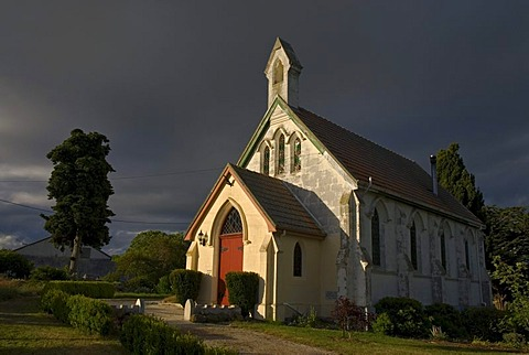 A chapel near Waiareka Junction in soft evening light, New Zealand