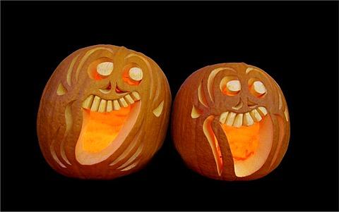 Two hollowed Halloween pumpkins
