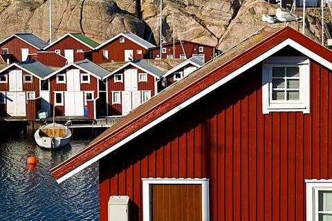 Red timber houses, Smoegen, Bohuslaen, Sweden