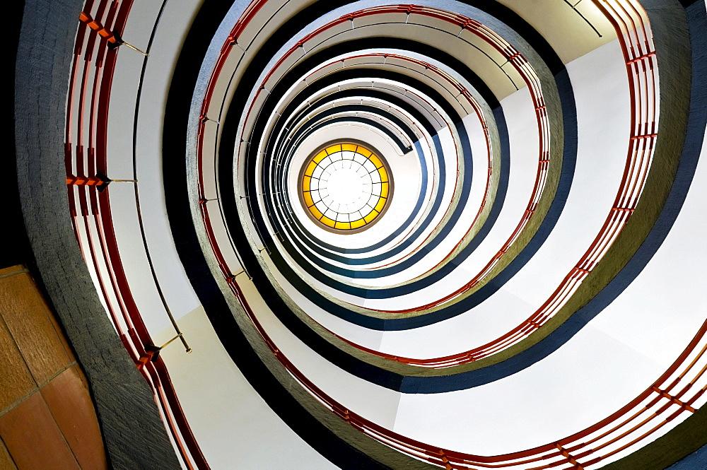 Circular staircase, Sprinkenhof building, Hamburg, Germany, Europe
