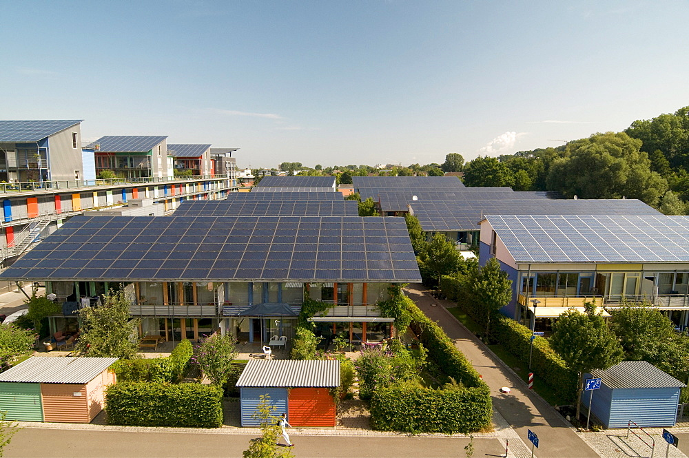 Solar village, Vauban, Freiburg im Breisgau, Baden-Wuerttemberg, Germany, Europe