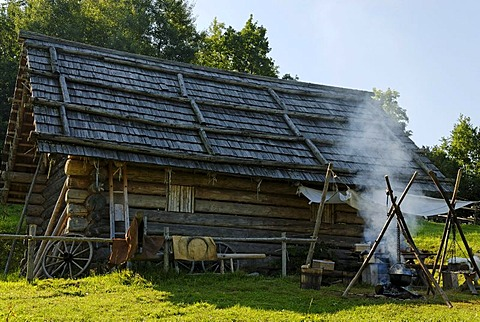 Mansion, La Tene culture, Celtic village Gabreta, Lichtenau near Ringelai, Bavarian Forest, Lower Bavaria, Bavaria, Germany, Europe