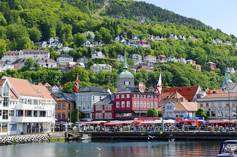 Fish market in front of the Domkirken, Bergen, Norway, Europe