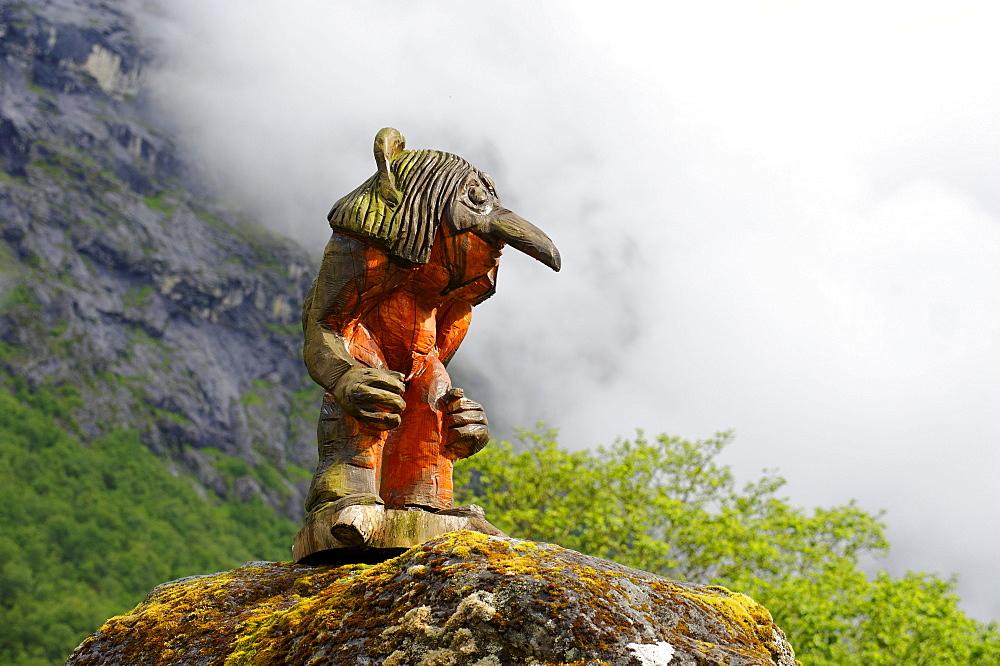 Mountain troll at the roadhouse Trollstiegen, Norway, Europe