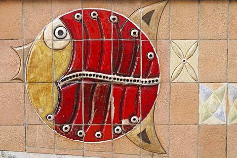 Fish mosaic, Aveiro, North Portugal, Portugal, Europe