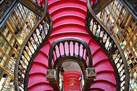 Stairs, Livraria Lello bookshop built in 1881, Porto, North Portugal, Europe