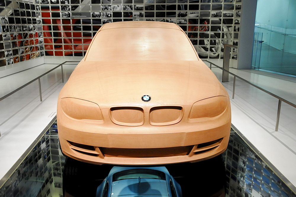 Design studio, clay model of the top model 1 Series Coupe, BMW Museum, Munich, Bavaria, Germany, Europe