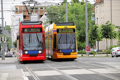 Tram lines 4 and 12, Leipzig, Saxony, Germany, Europe