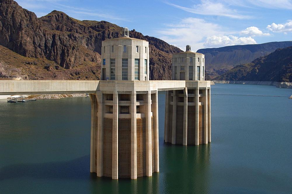 Hoover Dam, water intake towers, Nevada-Arizona, USA