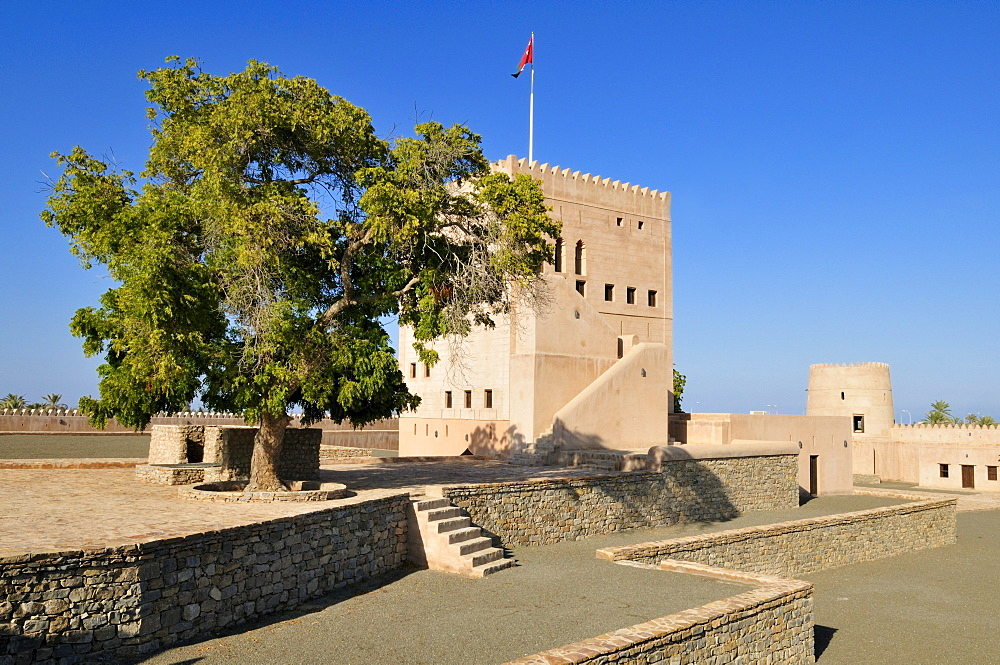 Historic adobe fortification Liwa Fort or Castle, Batinah Region, Sultanate of Oman, Arabia, Middle East