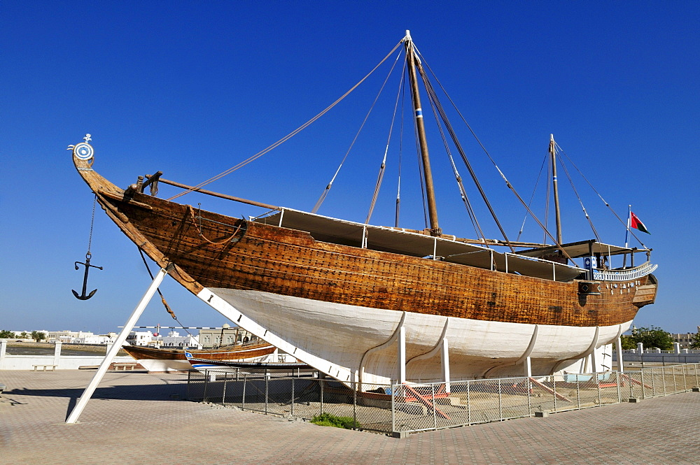Restored ghanjah dhow Fatah al Khair, Sur, Al Sharqiya Region, Sultanate of Oman, Arabia, Middle East