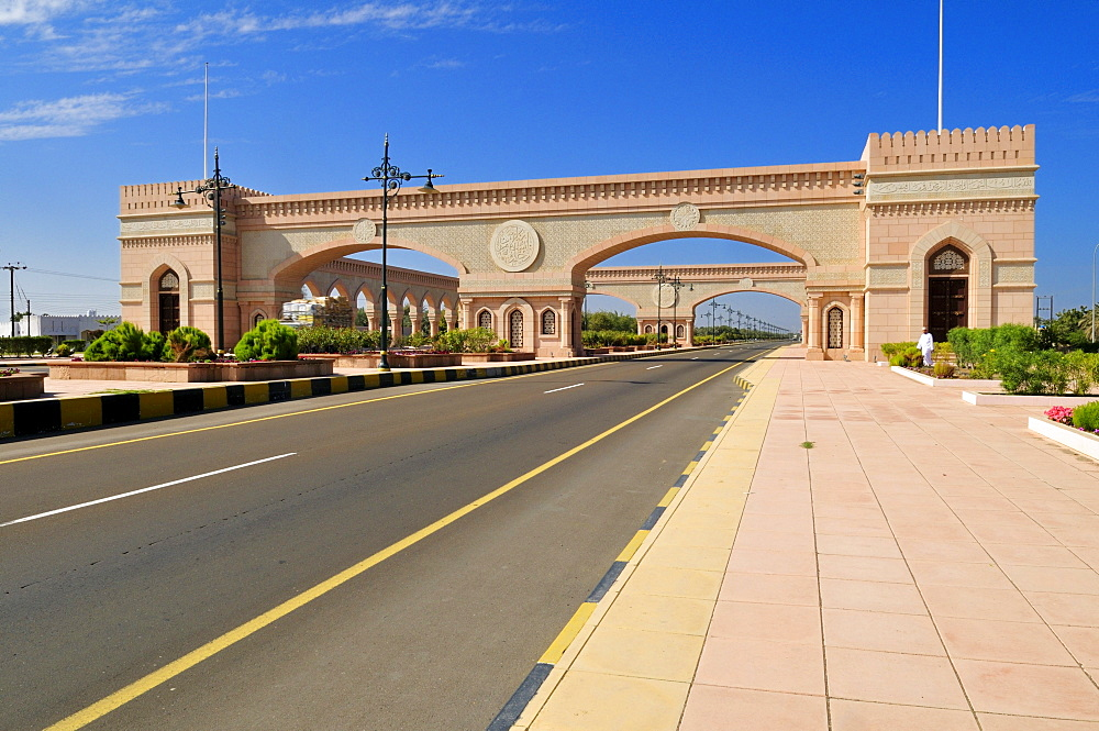 Beautification building along the freeway between Muscat and Sohar, Batinah Region, Sultanate of Oman, Arabia, Middle East
