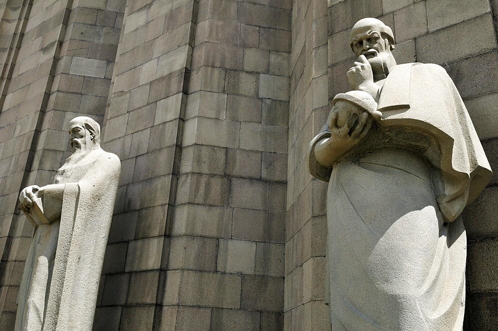Stone monument of an Armenian scientist in front of Matenadaran Museum, Yerevan, Jerewan, Armenia, Asia