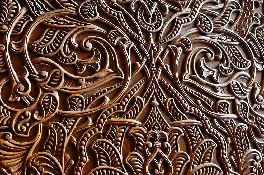 Carved wooden door at the Sultan Qaboos Grand Mosque, Muscat, Sultanate of Oman, Arabia, Middle East