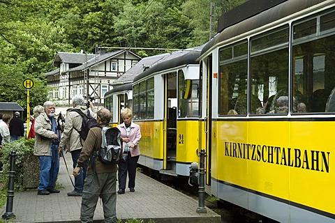 Tram in Kirnitschtal Valley, Saechsische Schweiz, Saxon Switzerland, Elbsandsteingebirge, Elbe Sandstone Mountains, Saxony, Germany
