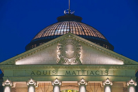 At night, Kurhaus, historic spa hotel and convention center, Wiesbaden, Hesse, Germany