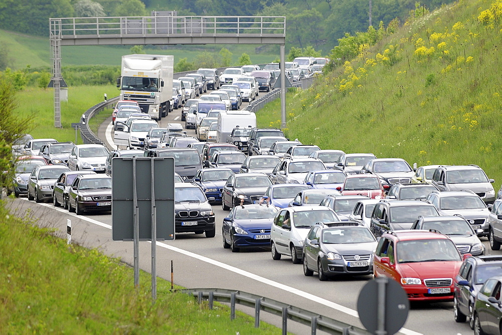 Traffic jam on the A 81 Leonberg-Heilbronn before Engelberg tunnel after an accident, Baden-Wuerttemberg, Germany, Europe