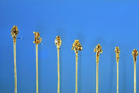 Pre-Columbian goldwork collection, hairpins, Gold Museum, Museo del Oro, Bogota, Colombia, South America
