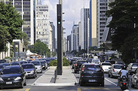 Traffic in the Avenida Paulista street, Sao Paulo, Brazil, South America
