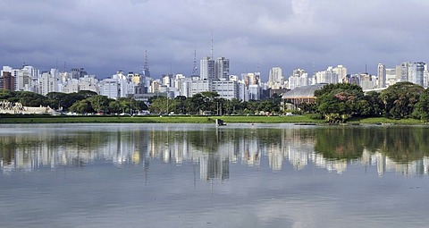 Panoramic view from the Parque de Ibirapuera park on the high-rise buildings of the Zona Sul, Sao Paulo, Brazil, South America