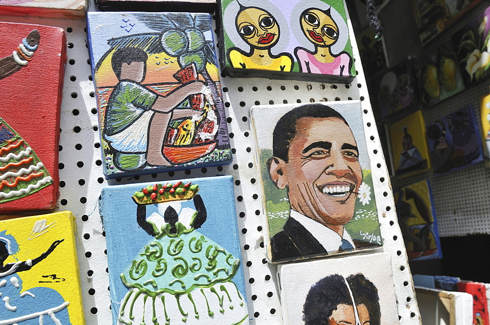 Paintings of U.S. President Barack Obama to be sold to tourists, street vendors, Salvador, Bahia, Brazil, South America