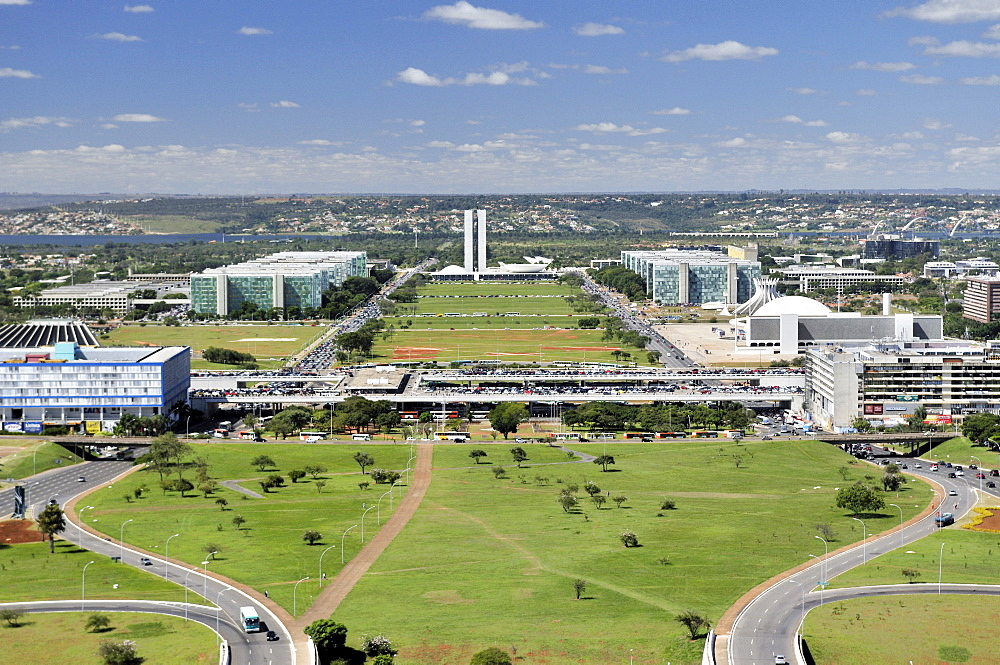 View from the television tower on the government district, architect Oscar Niemeyer, Brasilia, Distrito Federal state, Brazil, South America
