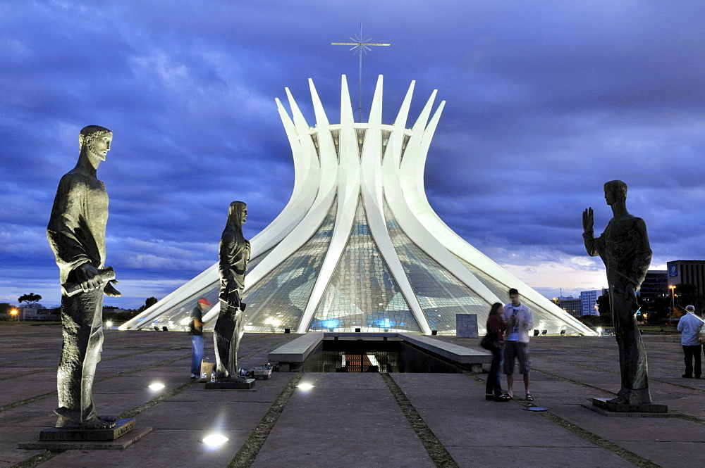 Statues of the Evangelists in front of the Cathedral Catedral da Nossa Senhora Aparecida, architect Oscar Niemeyer, Brasilia, Distrito Federal state, Brazil, South America