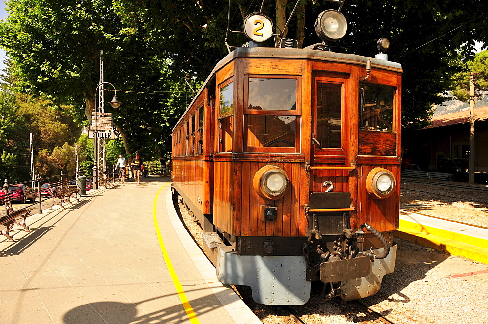 "The ""Red Flash"" railway from 1912, in the station of Soller, Majorca, Balearic Islands, Spain, Europe"