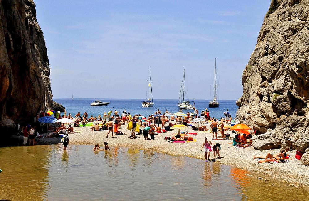 Platja de Torrent de Pareis Beach, Sa Calobra, Majorca, Balearic Islands, Spain, Europe