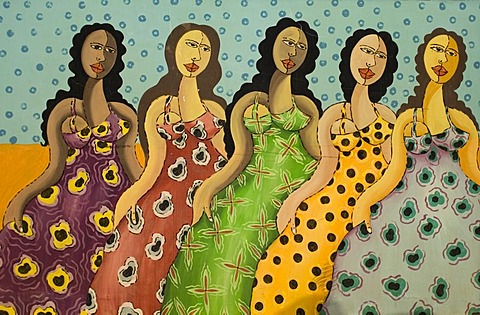 Naive mural paintings, Pocone, Mato Grosso state, Brazil