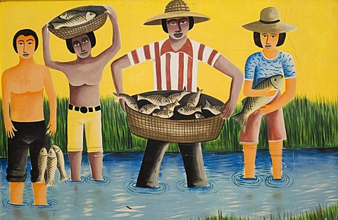 Naive mural paintings, Pocone, Mato Grosso state, Brazil - 832-220405