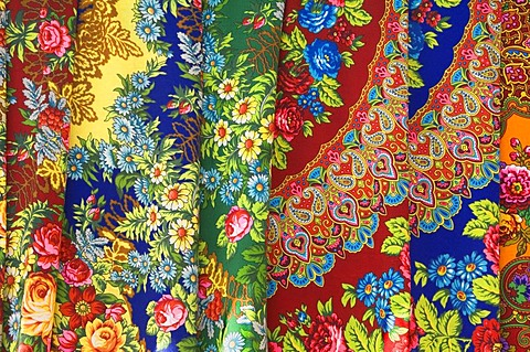 Tolkucha bazaar, textiles, Ashgabat, Turkmenistan